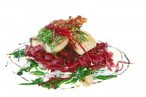 Helin Forest Row East Sussex galin fish main hake, pancetta, beetroot pasta